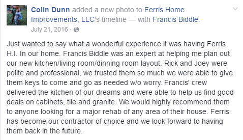 Kitchens Ferris Home Improvements renovation happy customer