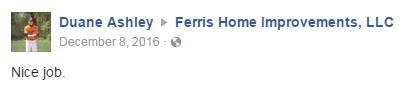 New front door customer testimonial Ferris Home Improvements Delaware