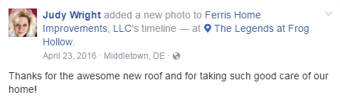 happy customer new roof Ferris Home Improvements renovation
